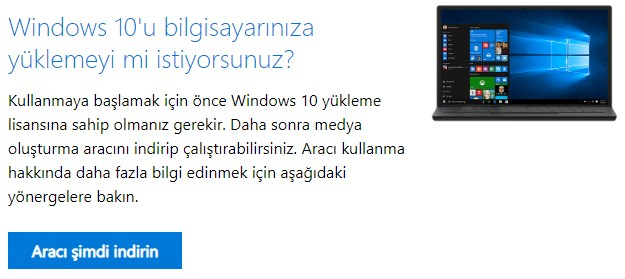 windows 10 yükleme